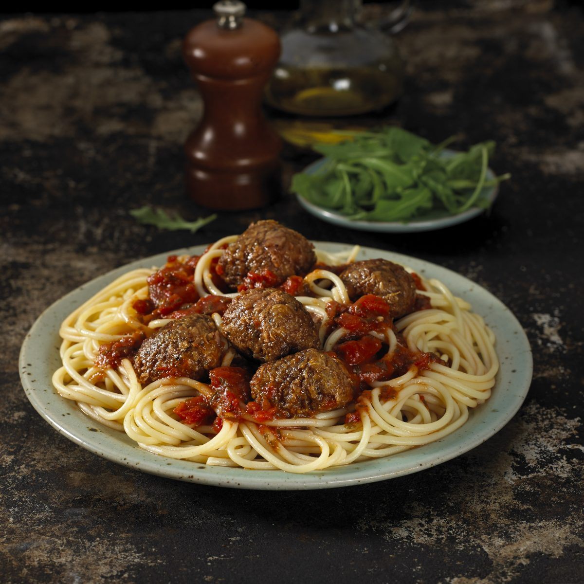 Meat free meatballs with spaghetti